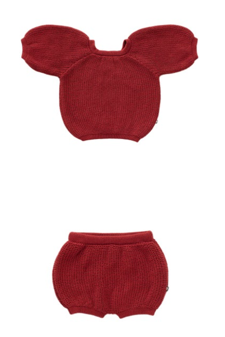 Set of Bubble Shorts & Top in Tomato