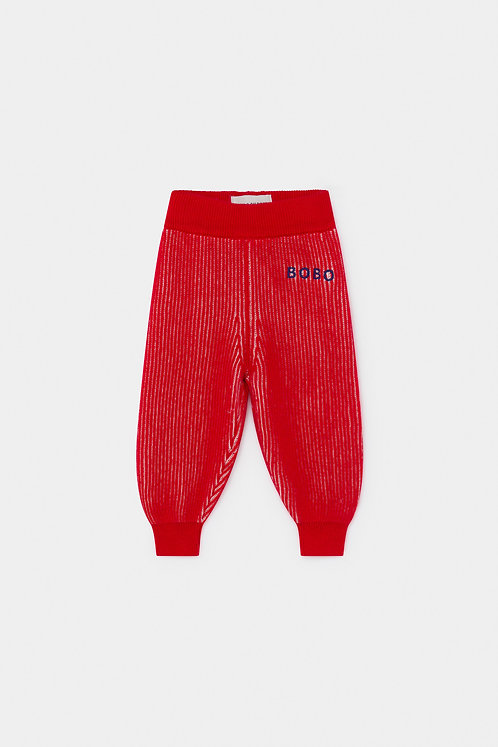 Red Striped Knitted Trousers