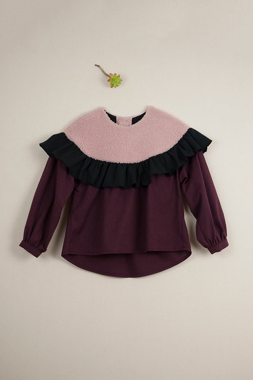 Burgundy Shirt With Frill