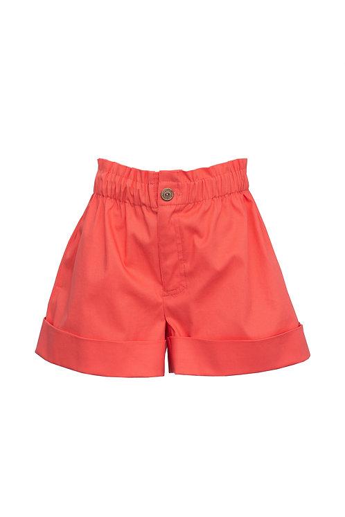 Cotton Paperbag Waist Shorts