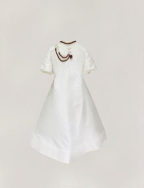 White Embroidered Collar Kaftan