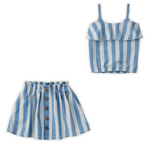 Denim Stripe Top & Skirt Set