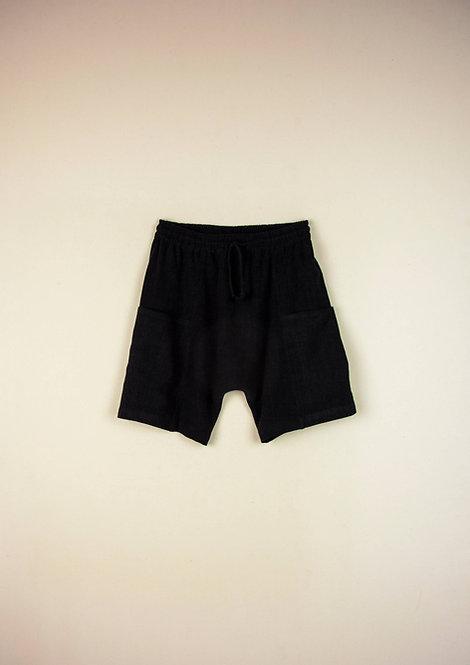Black Baggy Bermuda Shorts with Deep Pocket
