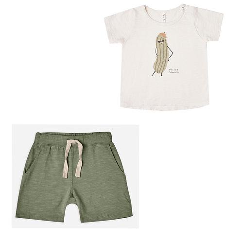 Cucumber Tee & Slub Shorts Set
