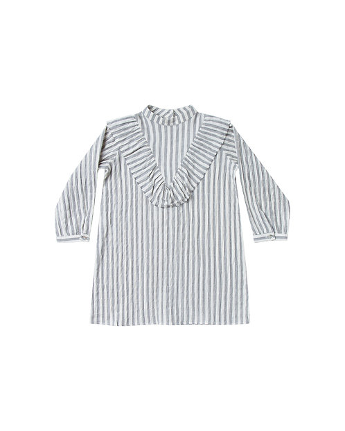 Stripe Ruffle V Dress