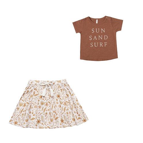 Sun Sand Tee & Garden Birds Miniskirt