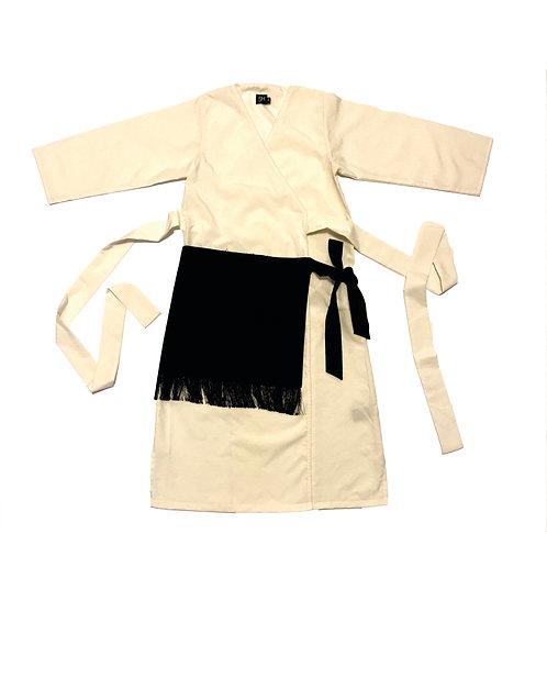 Long Robe W/ a Side Fringe & Raw Egdes