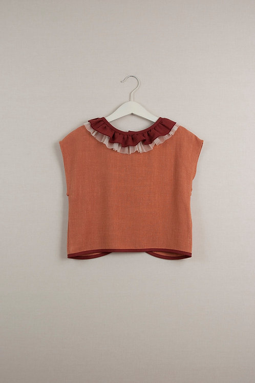 Set Of Orange Shorts & Orange Shirt With Frilled Collar