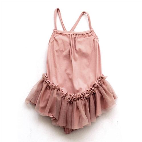 Pink Cotton Lycra Swimsuit