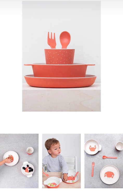 Bamboo Tableware- Mrs. Crab Set