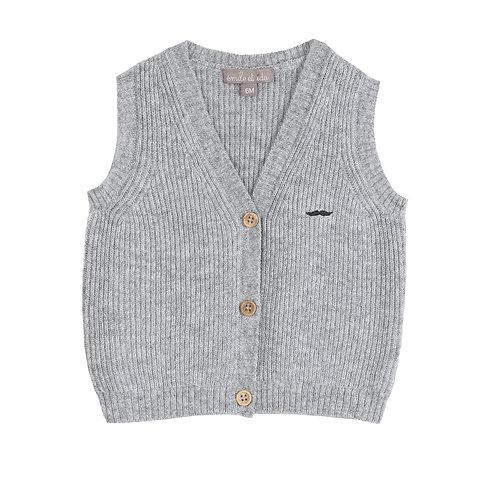 Grey Cardigan, Grey Shirt & Bitumen Pants Set
