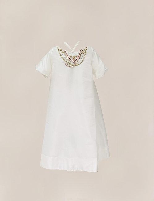 White Embroidered Off-Shoulder Kaftan