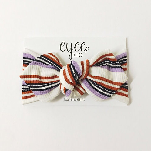 Top Knot Headband-Ribbed Lavender/Rust Stripe