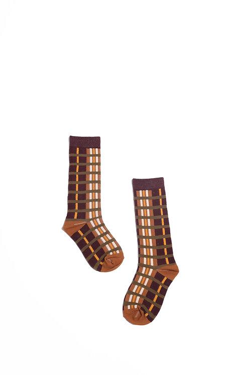 Jakob Gingham Knee Sock