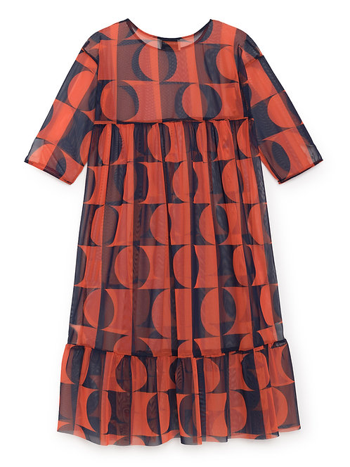 Dark Light Tulle Flounce Dress