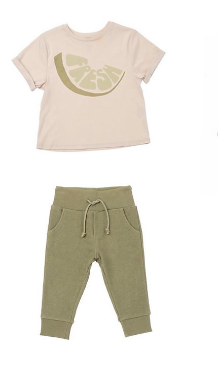 Set of Baby Skinny Sweatpants and Fresh Print  T shirt
