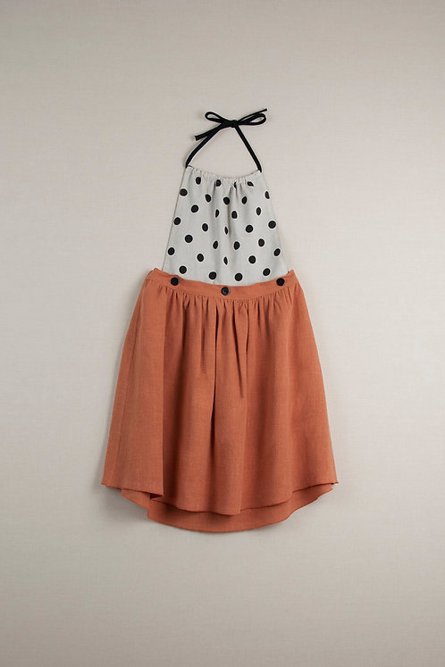 Orange Reversible Dress With Removable Bib