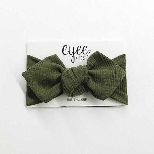 Top Knot Headband- Ribbed Olive