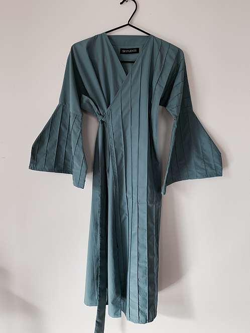 Lined Pleated Wrap dress with Half Octagon Sleeve