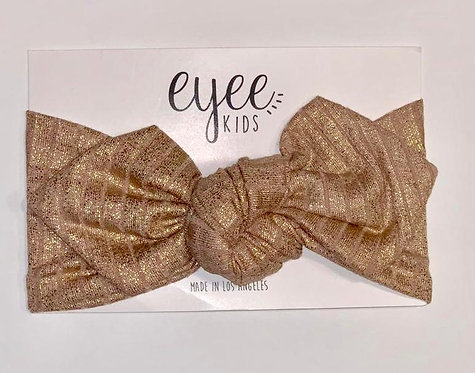 Top Knot Headband- Ribbed Nude Shimmer Metallic