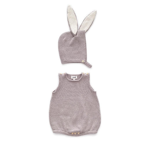 Light Grey Bunny Romper Set