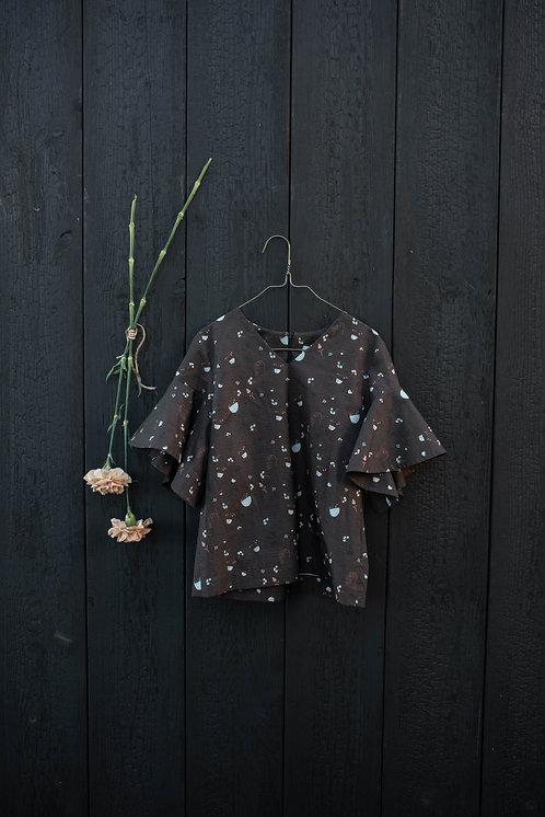Frida Blouse- Flowers Dark Brown