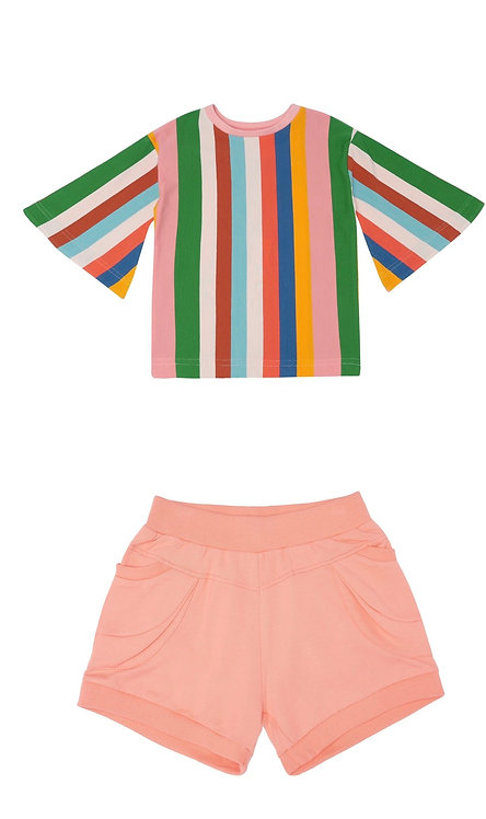 Set of Swing Into Action Top & Lucy Locket Shorts - Jucy Peach