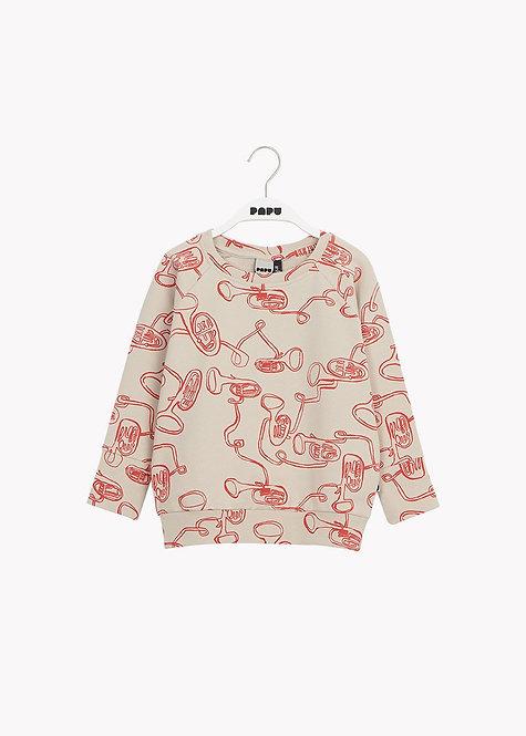 Maxi Sweatshirt - White Sand/Red