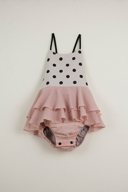 Black Polka Dot Romper Suit With Frill