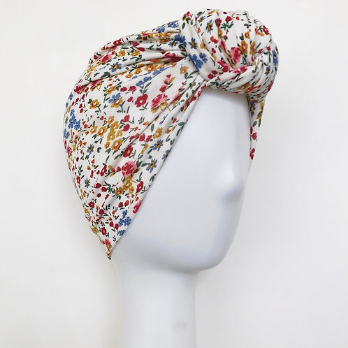 Glam Knot Turbans- White Floral