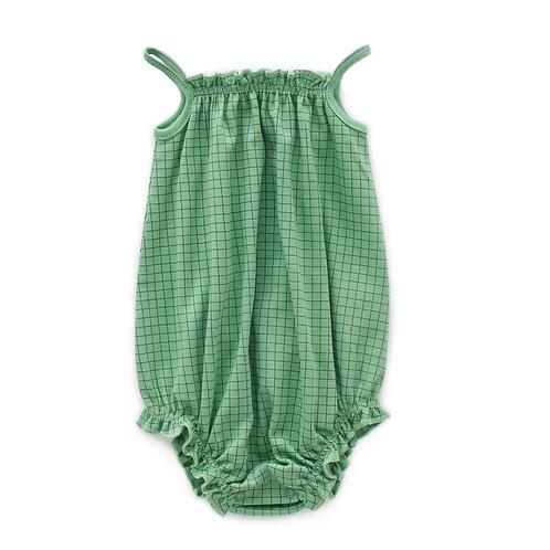 Tie Strap Romper Green Checks