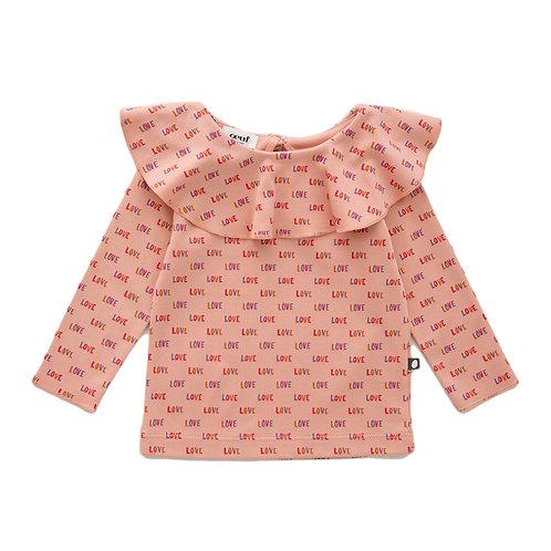 Ruffle Collar Shirt & Snap Button Skirt With Bloomer Set