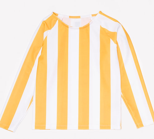 Rash Guard White &Yellow Stripes