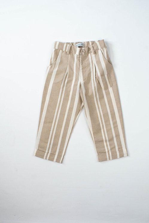 Indie Beige Stripes Girls Trousers
