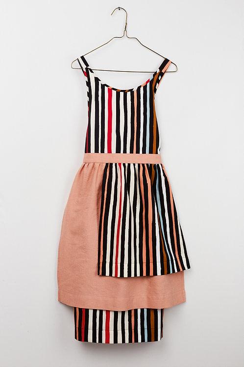 Apron Dress - Striped Salmon