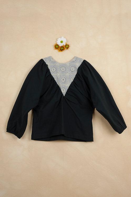 Black V-Shaped Yoke Shirt