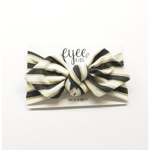 Top Knot Headband- Black & Gold Stripes