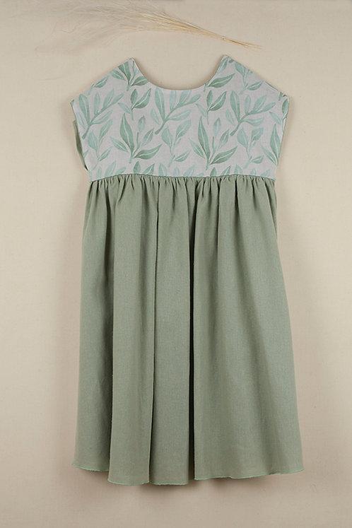 Green Reversible Yolk Dress