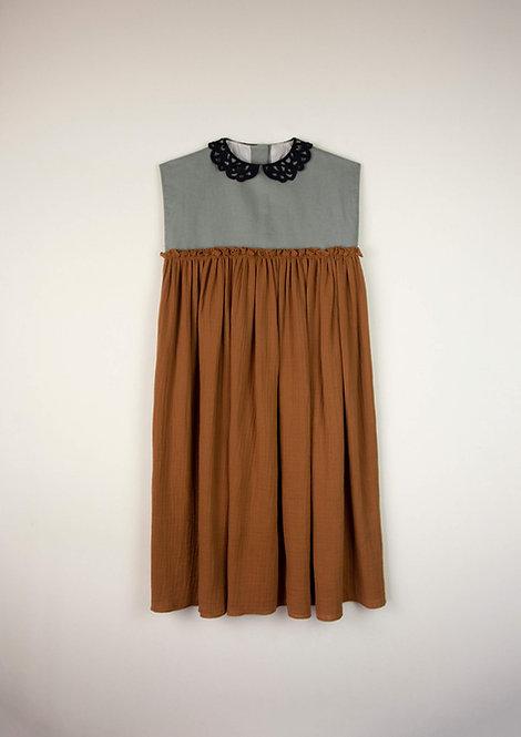 Brown Guipure Neckline Dress