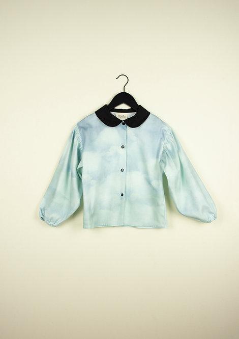 Sky  Shirt with Peter Pan Collar