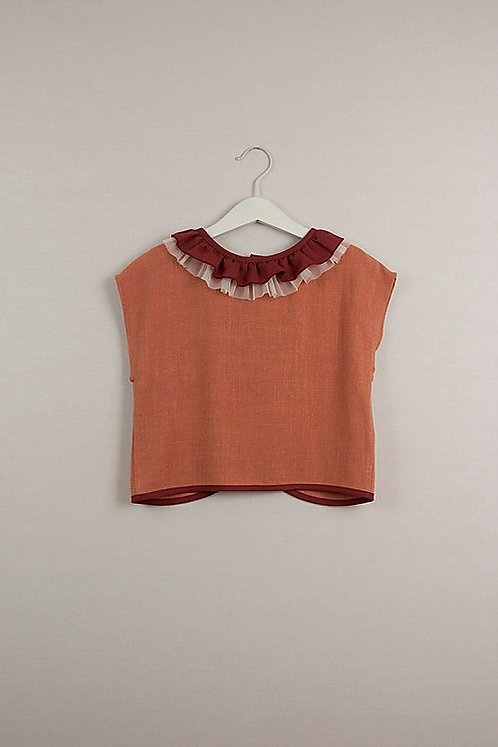 Orange Shirt with Frilled Collar