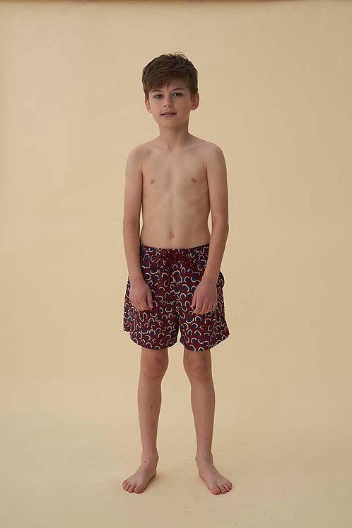 Dandy Swim Pants, Russet Brown, AOP Coral