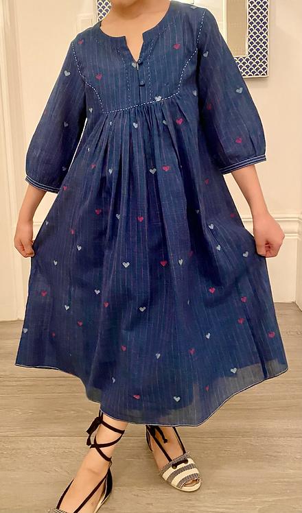 Indigo Skies Gathered Dress