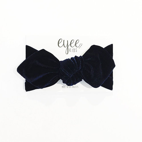 Top Knot Headband- Navy Velvet