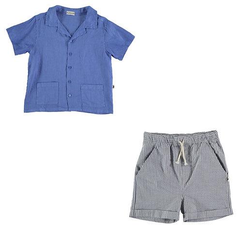 Linen Shirt & Seersucker Bermuda Set
