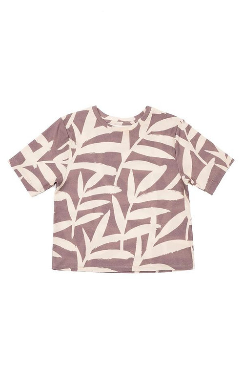 Boys Boxy T-Shirt W/ All Over Palm Leaves Print