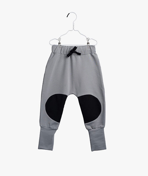 Patch Baggy Pants- Stone Grey/ Black