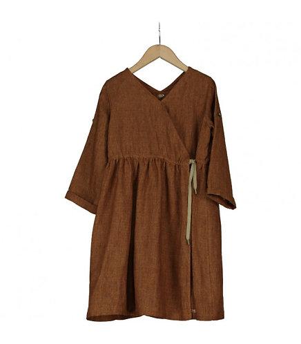 Starvinski Russet Distressed Linen Dress