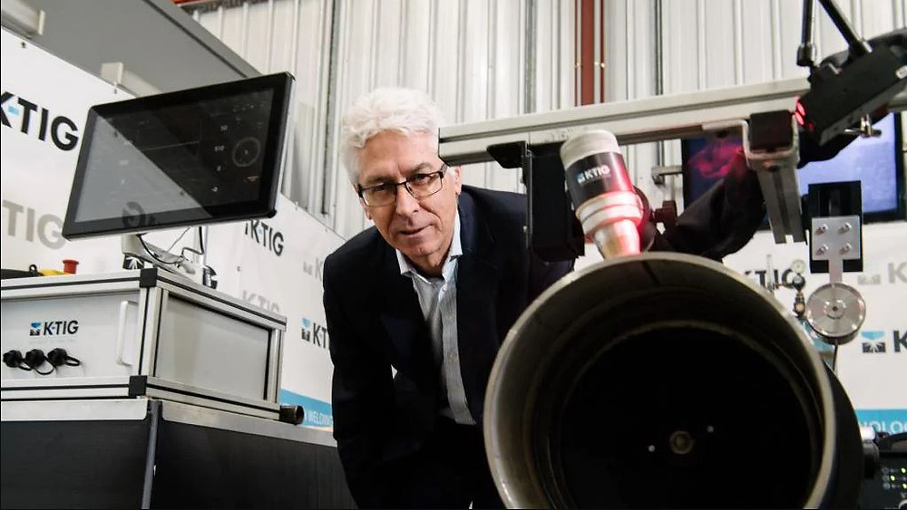 K-TIG CEO David Williams with the welding system at Mile End. Picture: AAP Image/Morgan Sette.