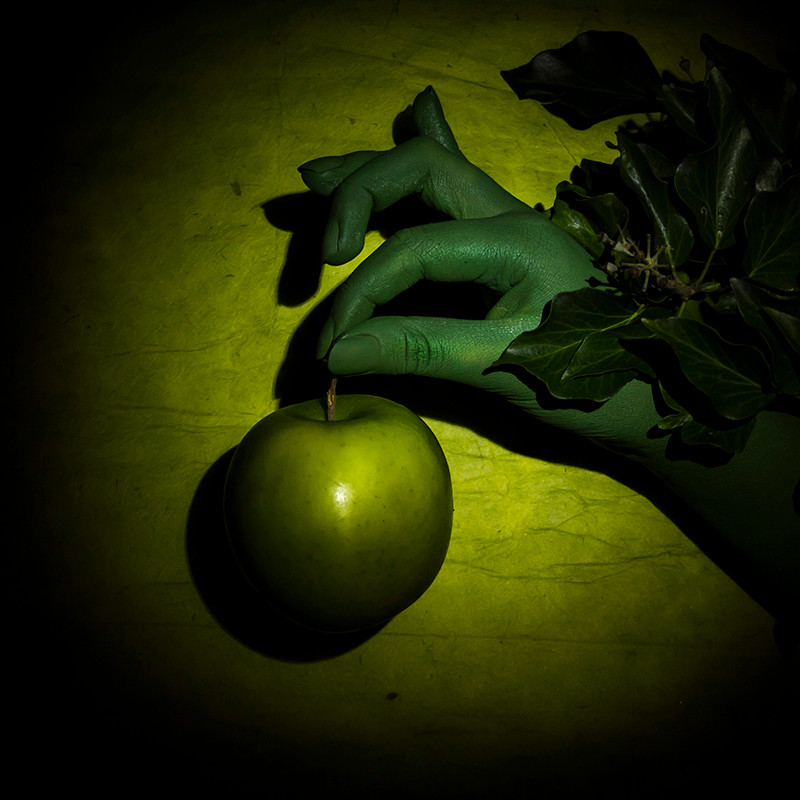 Green Apple, Green Hand, Ivy, on Green